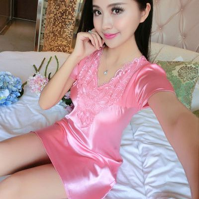 2017 Spring Summer Autumn Women Sexy Satin Silk Nightgown Lady Nightdress  Female Lace Homewear & Sleeping