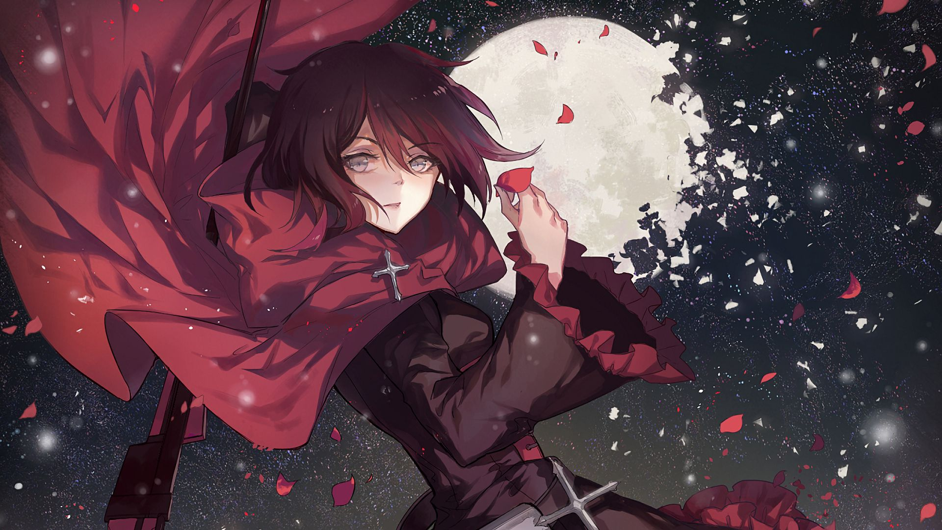 Night Of Red Computer Wallpapers Desktop Backgrounds 1920x1080 Id 649966 Rwby Anime Rwby Wallpaper Ruby Rose Anime