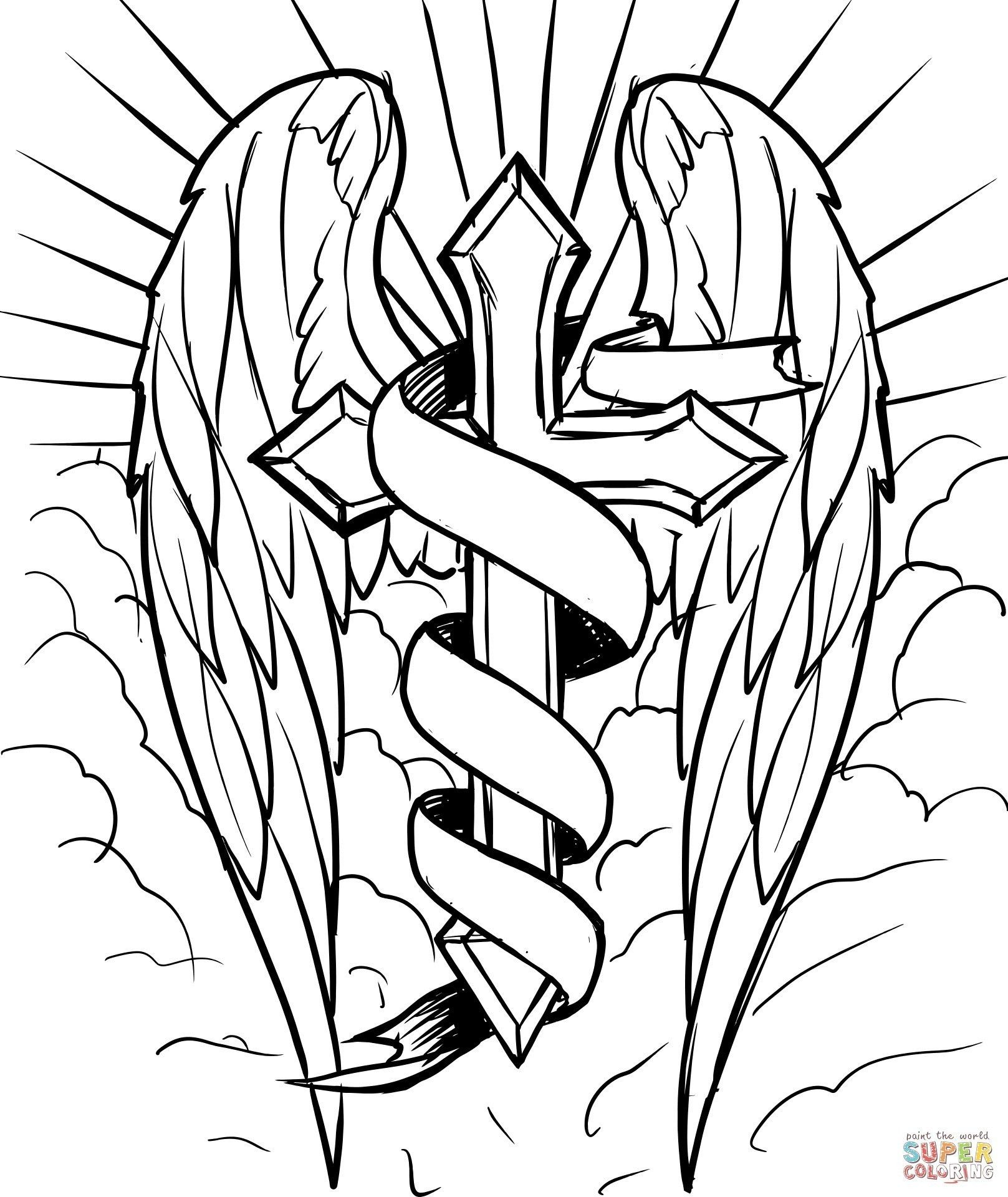Cross Coloring Pages Printable Save With Cross Drawing Cross