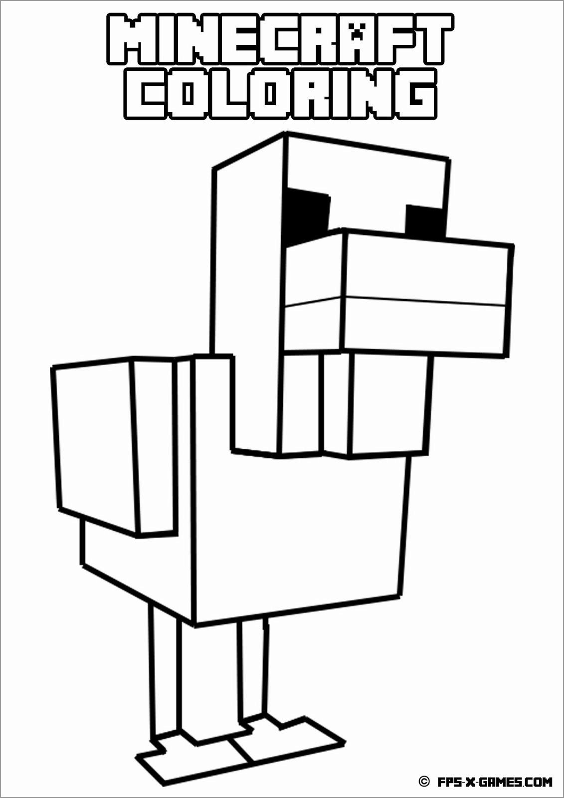 Minecraft Coloring Pages Chicken Minecraft Printables Minecraft Coloring Pages Chicken Coloring Pages