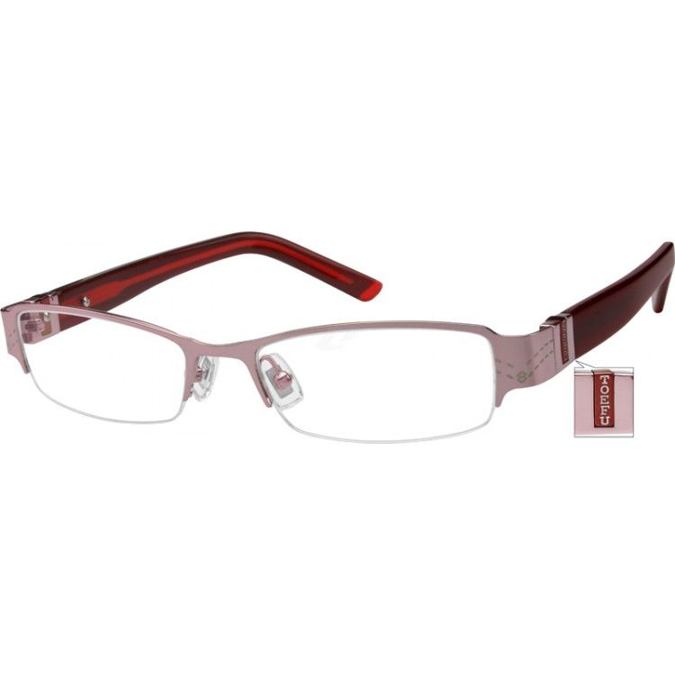 Fanciful design accents this sleek, stainless steel half-rim frame with comfortable acetate temples. Fully adjustable for the perfect fit!