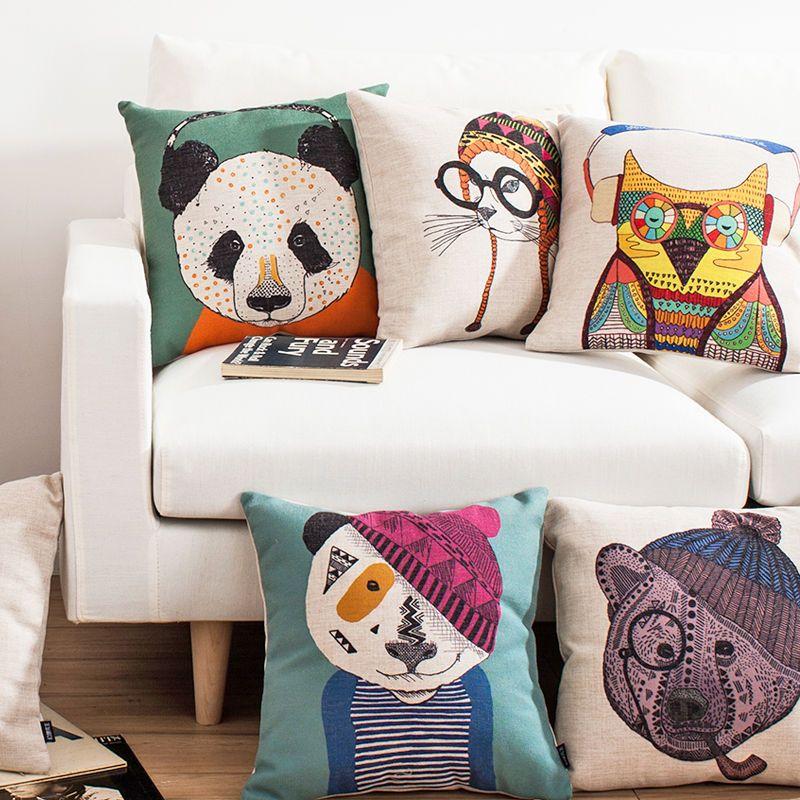 Arranging Throw Pillows On Sofa: Cute Animal Costume Decorative Sofa Linen Pillow Case