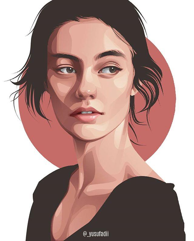 Vector art, Vector portrait, Vector Illustration, Cartoon Logo, Cartoon Portrai… | Digital portrait art, Vector portrait illustration, Digital portrait illustration