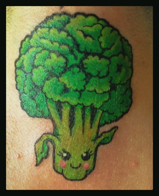 My cute broccoli tattoo on the back of my neck