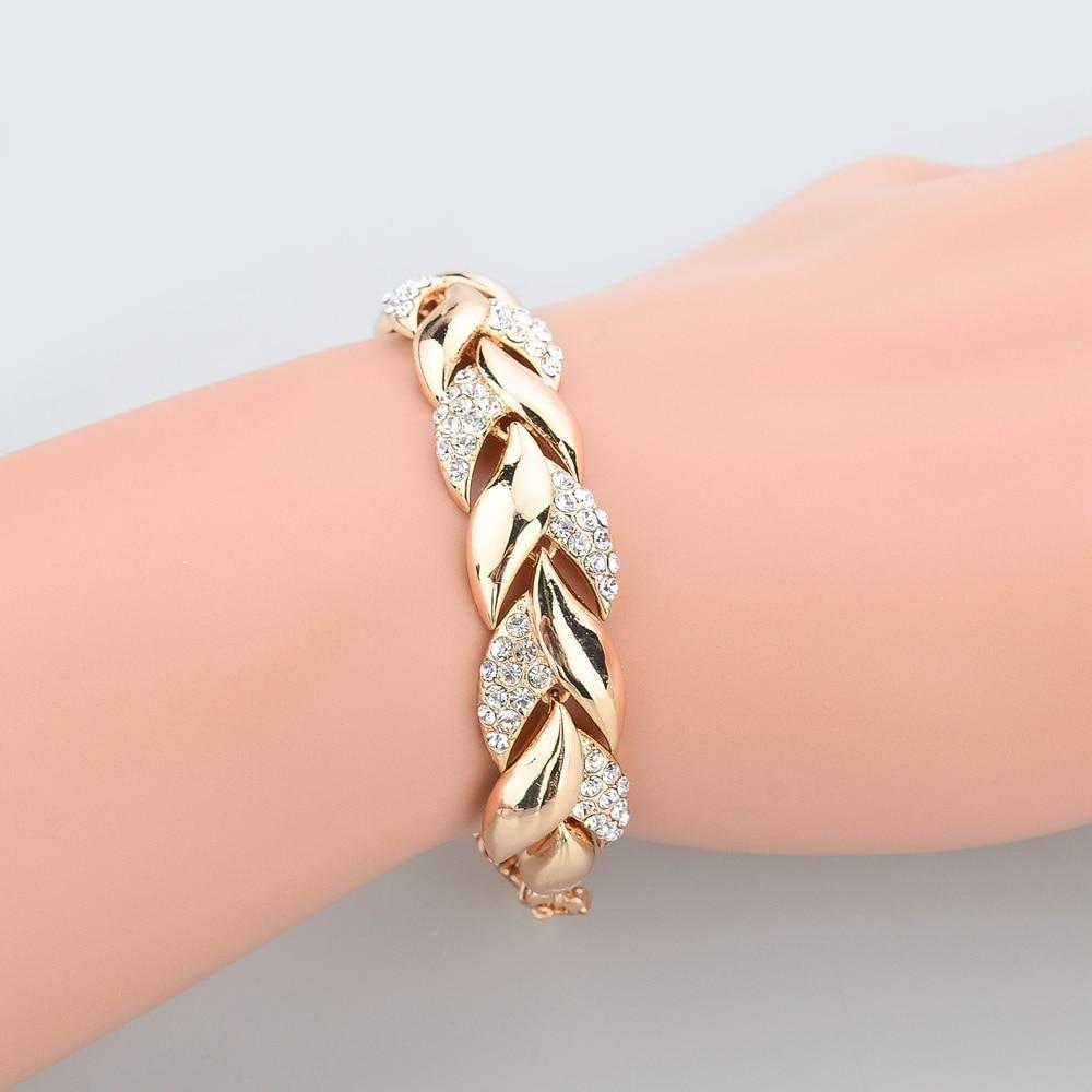 Golden Leaf Link Bracelet  Wedding bracelet, Pearl wedding