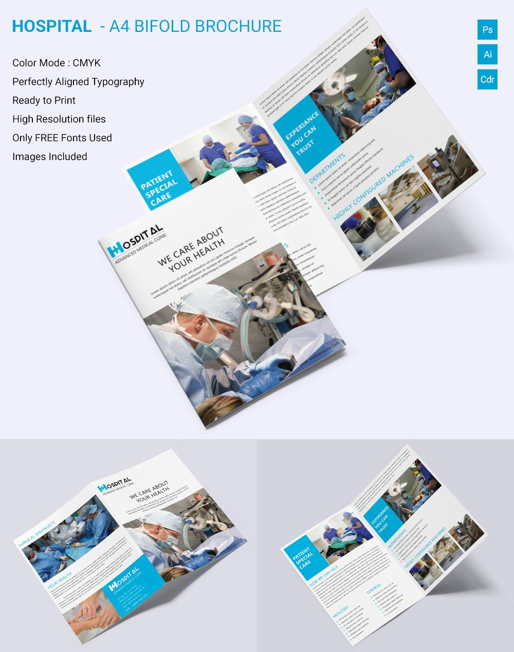 Medical Brochure Template â Free Psd Ai Vector Eps - Bi fold brochure template indesign