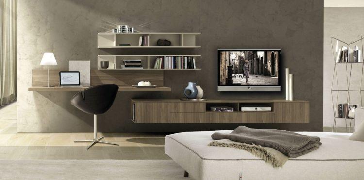 coin bureau en bois massif murs gris taupe meuble tele en bois assorti et chaise design en cuir noir