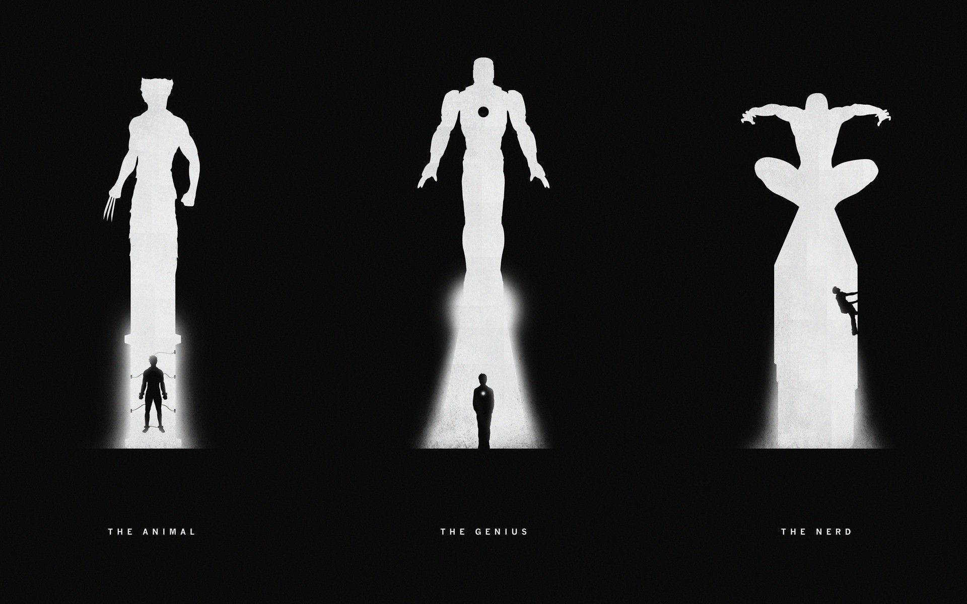 Silhouette Avengers Black And White Wallpaper