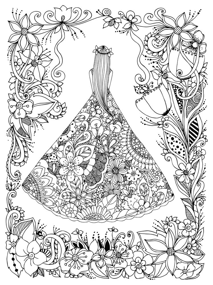 Vector Illustration Zen Tangle Girl In A Floral Dress Doodle Flowers Tree Coloring Book Antis Stress For Adults Black And White