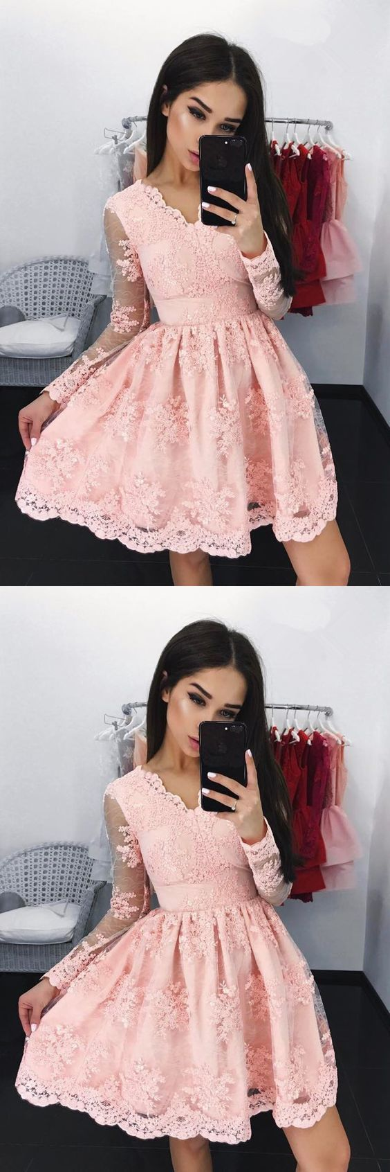 Aline vneck long sleeves short pink lace homecoming dress with