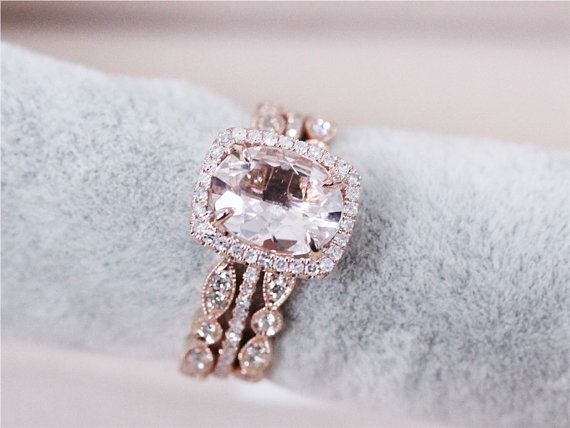 3 Rings Set VS 7x9mm Pink Morganite Wedding Set By AbbyandWills