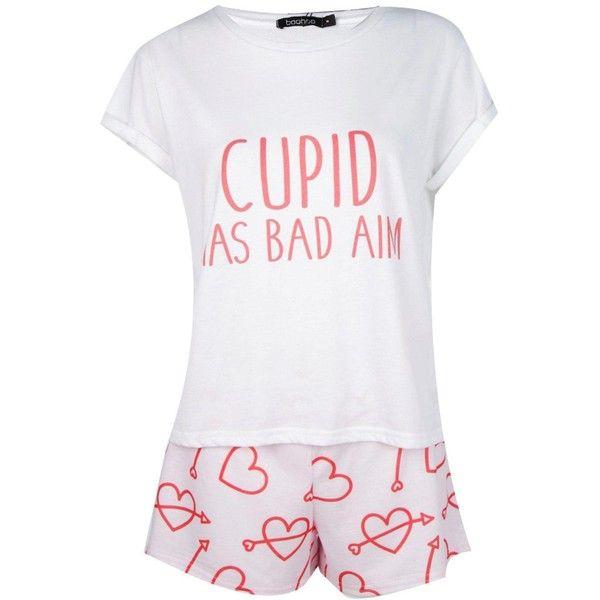 cdd2e8426f3b Boohoo Anna Cupid Has Bad Aim PJ Short Set (25 NZD) ❤ liked on Polyvore  featuring intimates, sleepwear, pajamas, nightwear, short sleepwear, short  pajamas, ...