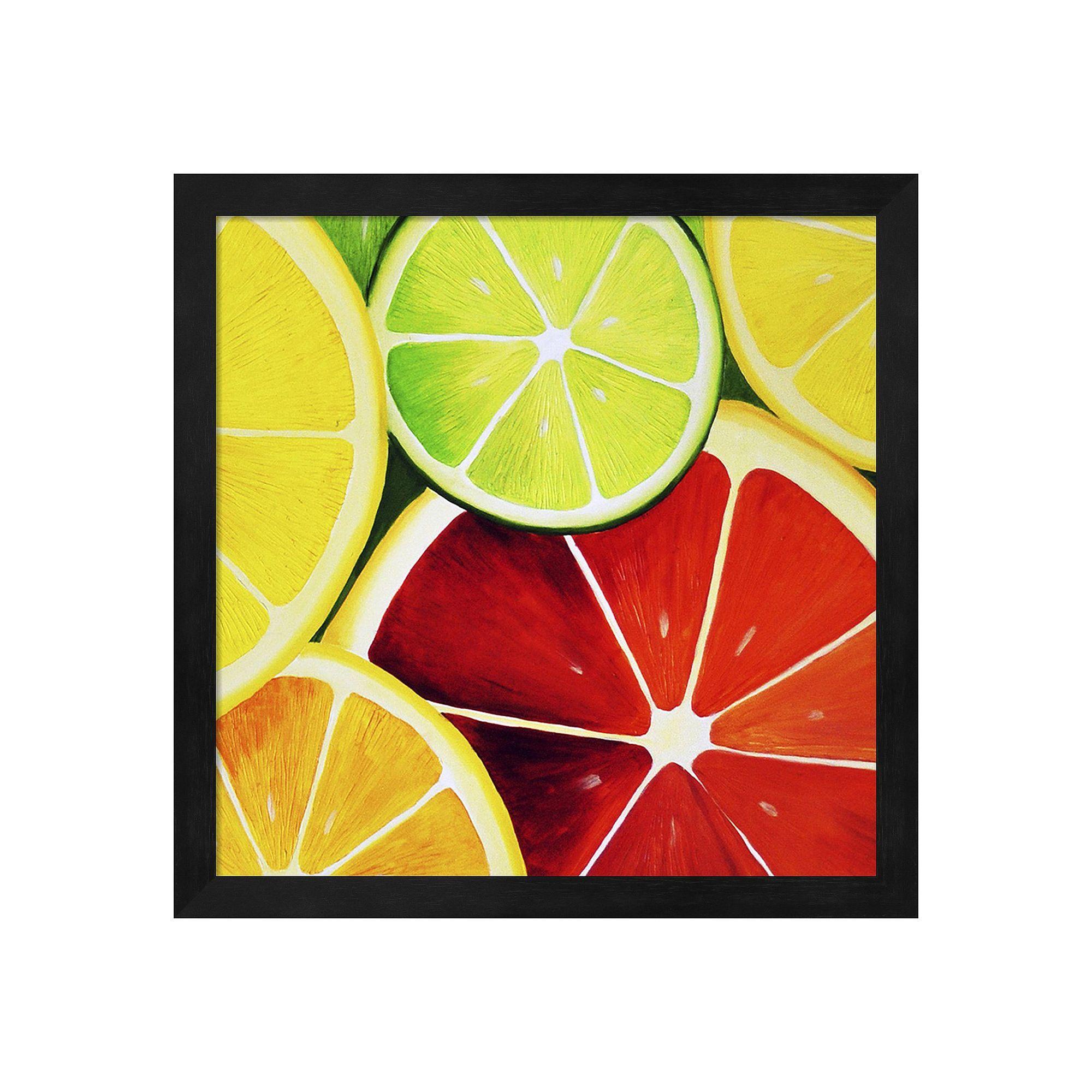 Metaverse Art Sliced Grapefruit Framed Wall Art, Black | Framed wall ...