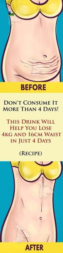 Don't Consume It More Than 4 Days: This Mixture Will Help You Lose 4 KG And 16 CM Waist In Just 4 Da...