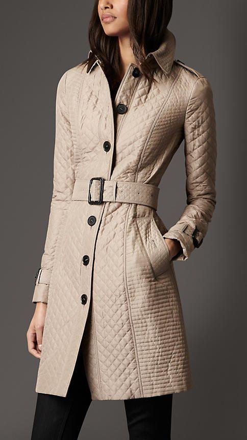 Long Quilted Trench Coat Burberry Coat Fashion Long Winter Coats Women Fashion