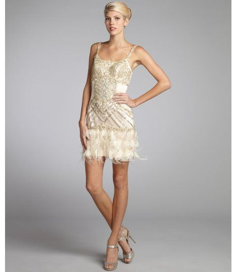 6a36c3f8c2 Champagne Tulle Woven Sequin Flower Applique Ostrich Feather Trim Dress -  Lyst