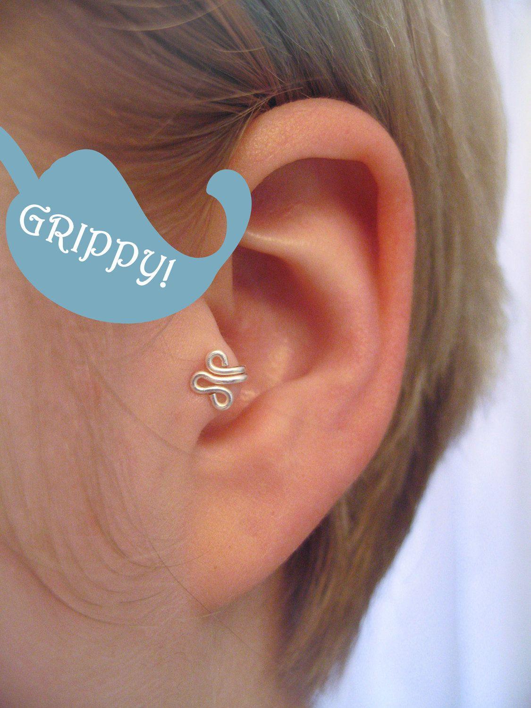 The Fleur Left Ear Tragus Cuff Grippy Silver Ear Cuff Wire Fleur De