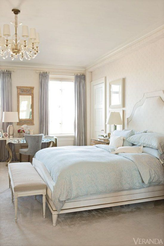 Soft Tones Elegant Traditional Master Bedroom White With Soft Blue Accents High Windows Great Trim And Panell Blue Master Bedroom Home Bedroom White Rooms