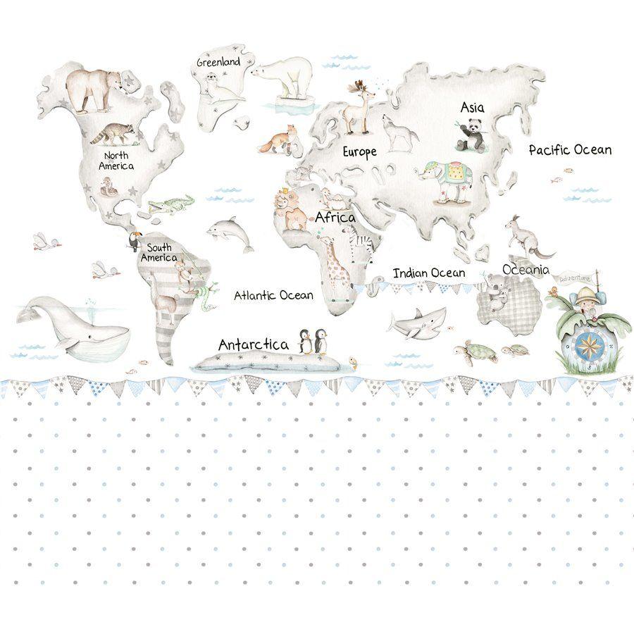 Mural mapa mundi gris - Vinilos y complementos infantiles | imagenes ...
