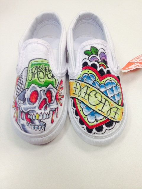 82d2290a77e4 SOLD  MOM Tattooed Custom Kids Vans with Name on Etsy