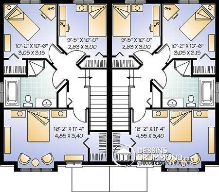 Détail du plan de Maison multi logements W3004-V1 Home decor