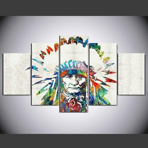 Colorful Chief Multi Panel Canvas Customized Canvas Art Wall Art Canvas Prints Wall Art Prints