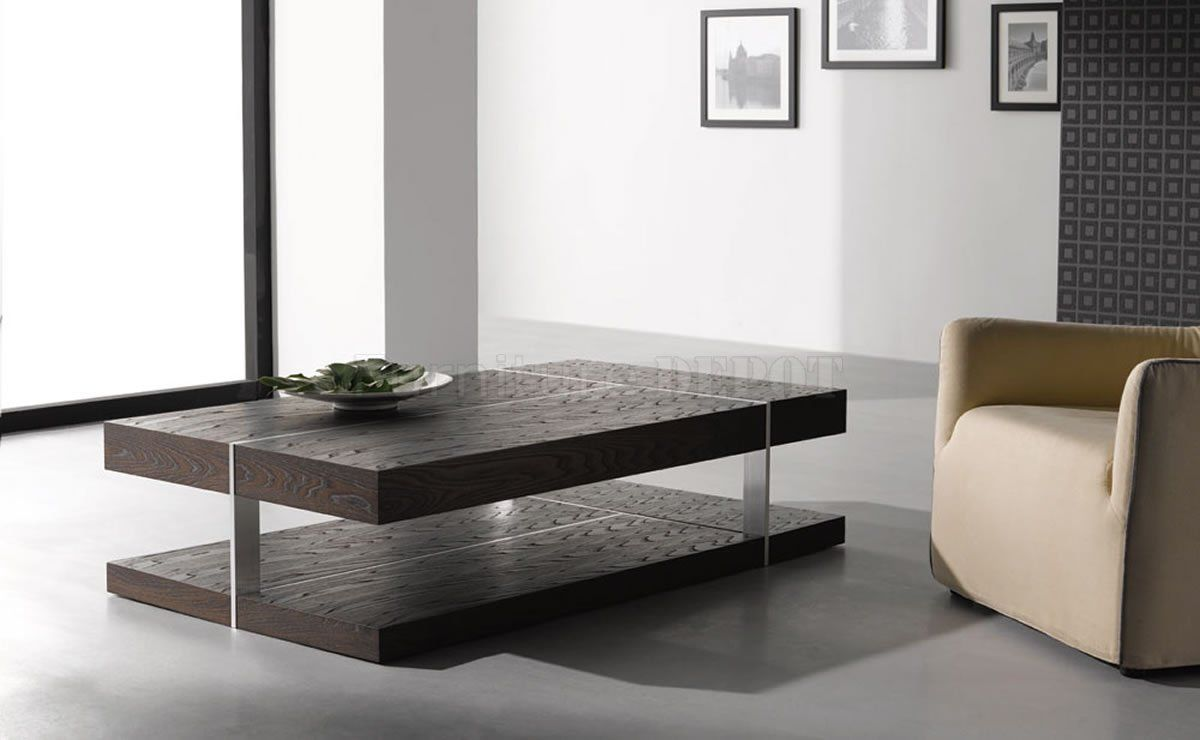 Wenge Zebrano Finish Modern Coffee Table W Metal Accents [ 740 x 1200 Pixel ]