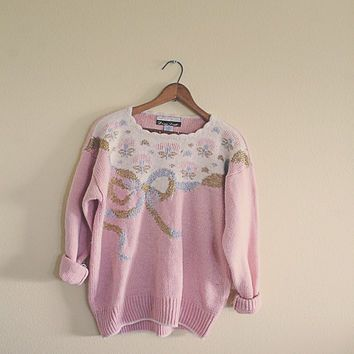 Vintage Cute Ugly Christmas Sweater Pink Gold Silver Women's Size ...