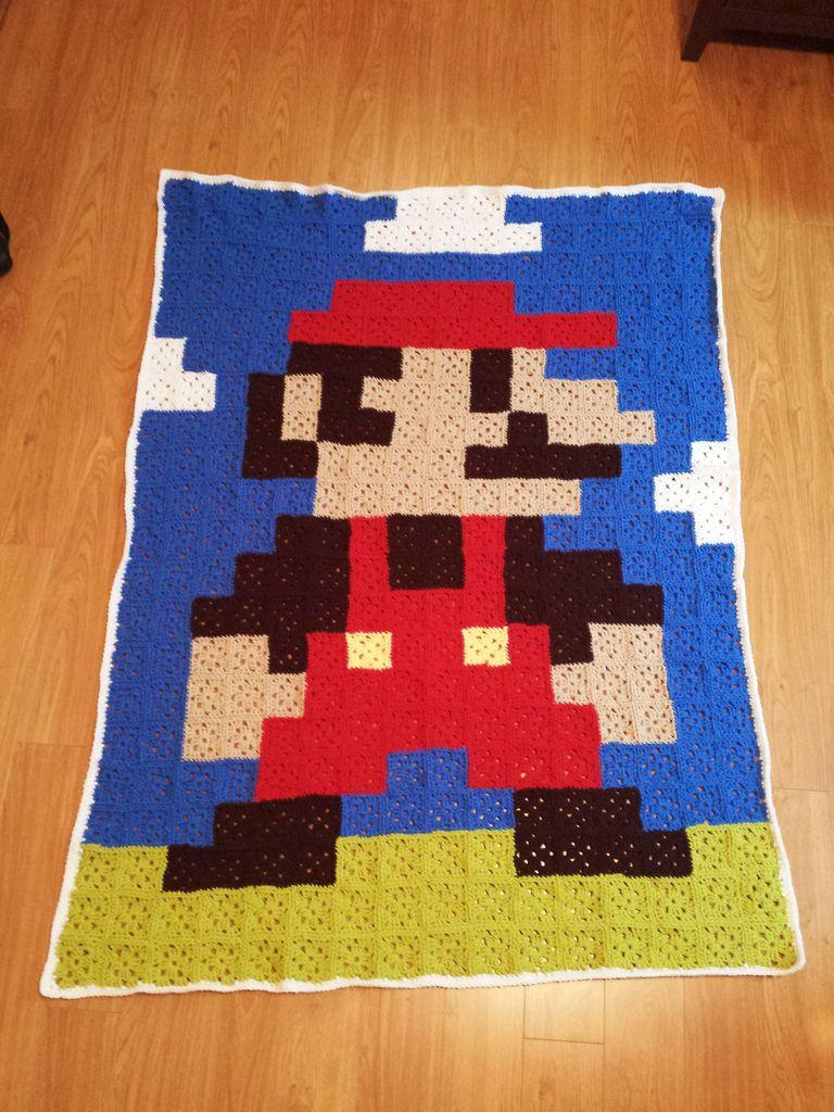 8-Bit Mario Blanket - Made From Granny Squares | Pinterest | Mario ...