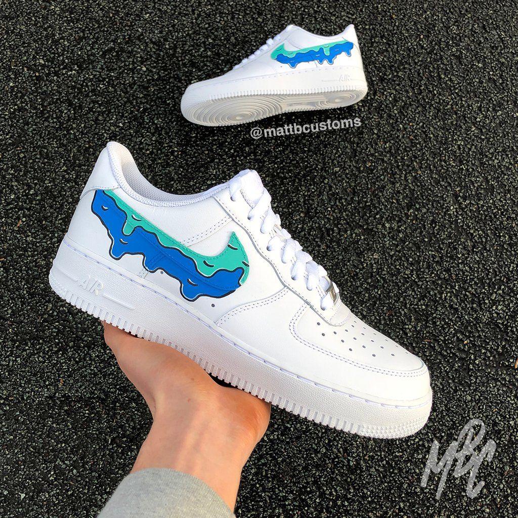 Nike af1 blue drip in 2020 Nike air shoes, Nike af1, Nike