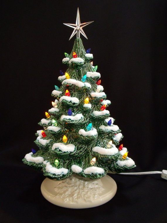 Ceramic Christmas Tree Decorations.Classic Ceramic Christmas Tree With Snow 16 Inches