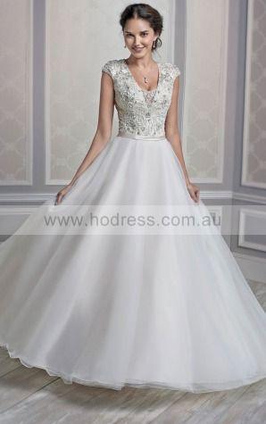 Buttons Ball Gown Natural V-neck Wedding Dresses hdcf1016--Hodress