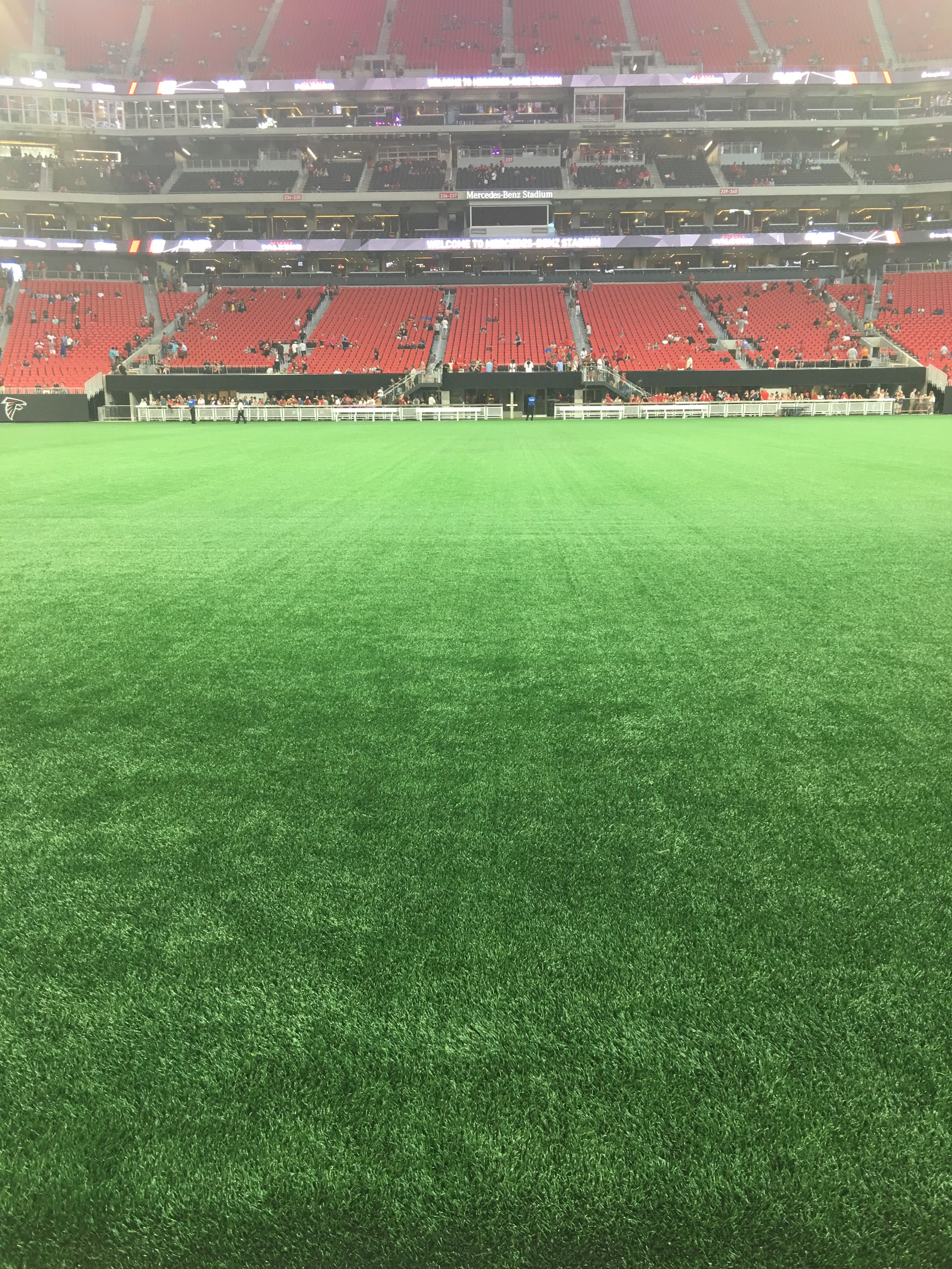 Mercedes Benz Stadium At What Will Be The 50 Yard Line Go Falcons