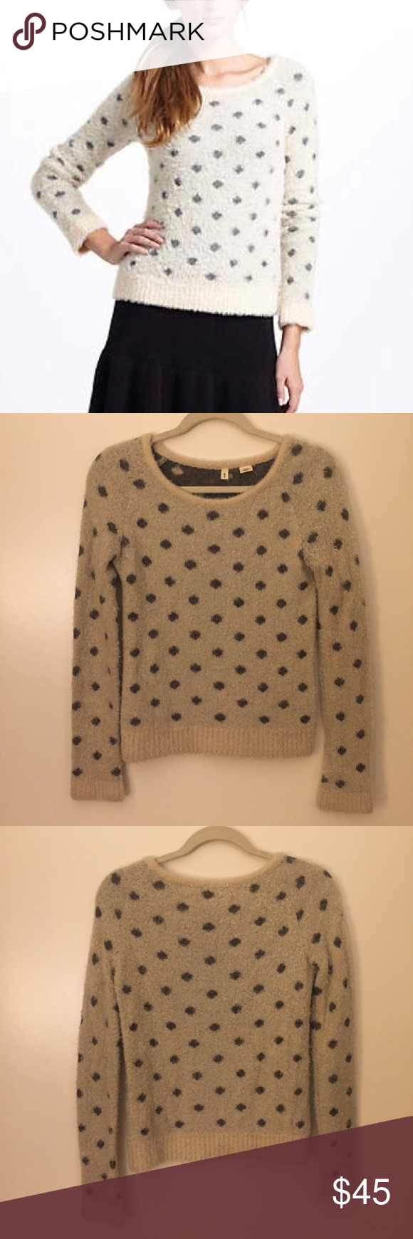 Moth Cream & gray polka dot fuzzy sweater Cute cream and gray ...