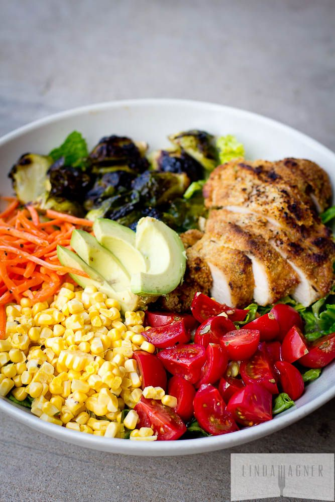 Rainbow Salad with Balsamic Roasted Brussels & Paleo Almond Crusted Chicken via @Linda Bruinenberg Bruinenberg Bruinenberg Wagner
