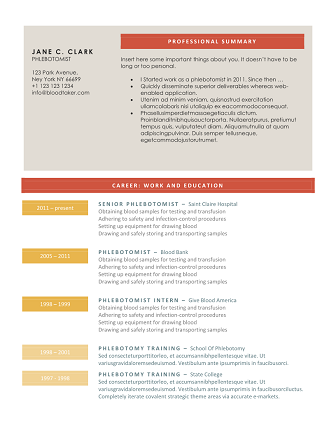 Sample Phlebotomy Resume Unique 10 Free Phlebotomy Resume Templates You Must See  Resume Templates .