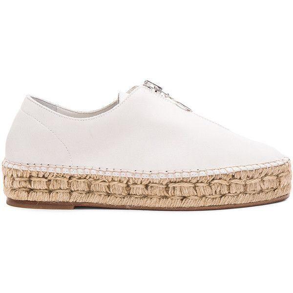 Alexander Wang Leather Devon Espadrille (£293) ❤ liked on Polyvore featuring shoes, sandals, flats, sneakers, espadrille sandals, flat pumps, platform espadrilles, leather espadrille sandals and leather shoes