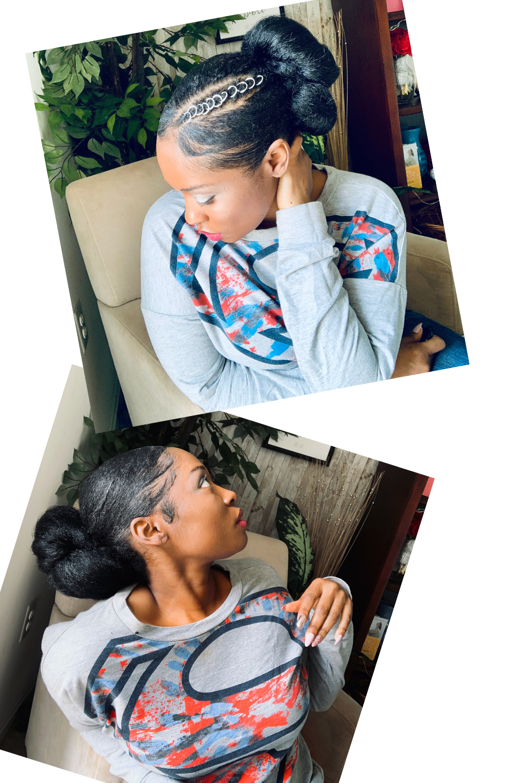 Easy Sleek Low Bun On Natural Hair With Braiding H