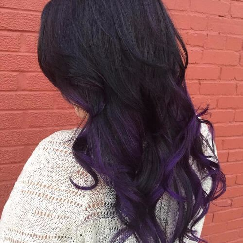 Purple Highlights On Black Hair Purple Hair Purple Hair Purple