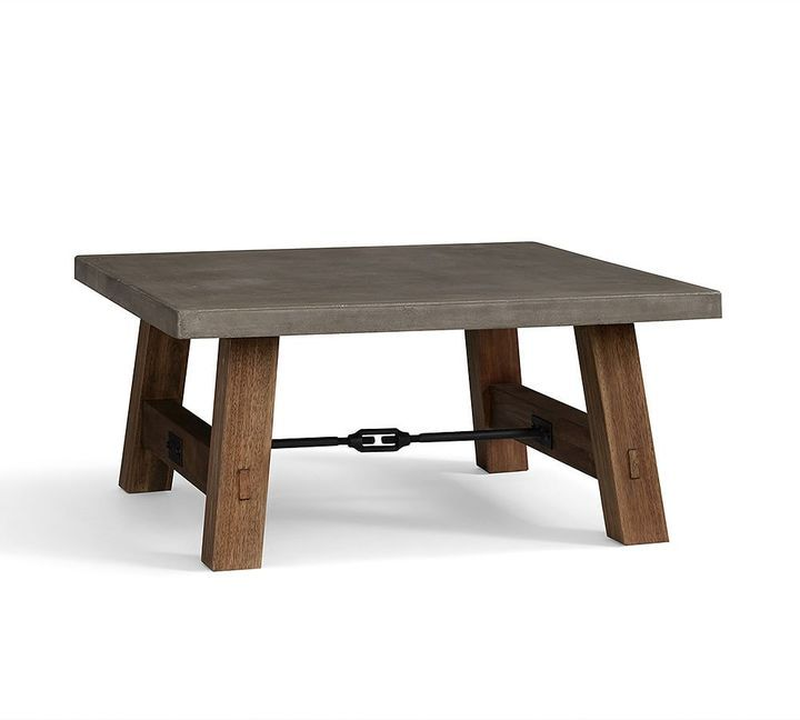Concrete And Eucalyptus Table For Outdoor Dining