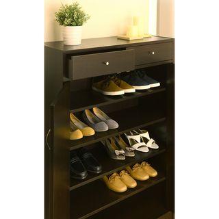 Five Shelf Shoe Cabinet with Two Upper Storage Bins | Overstock.com