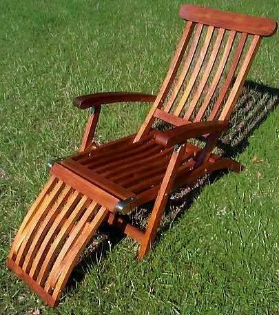 Teak Finish Wood Steamer Lounge Deck Chair   Patio ...