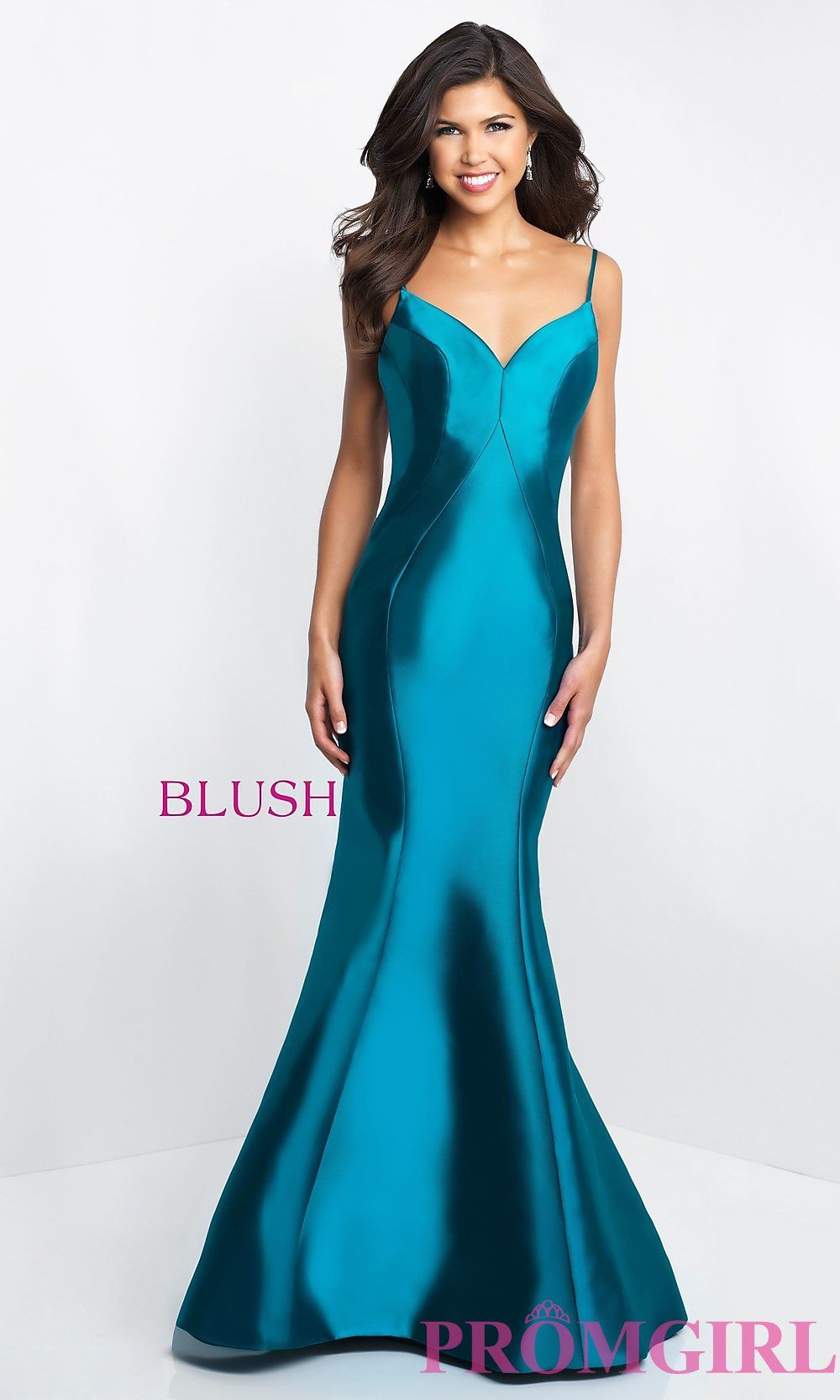 Long vneck openback blush prom dress promgirl combinations for