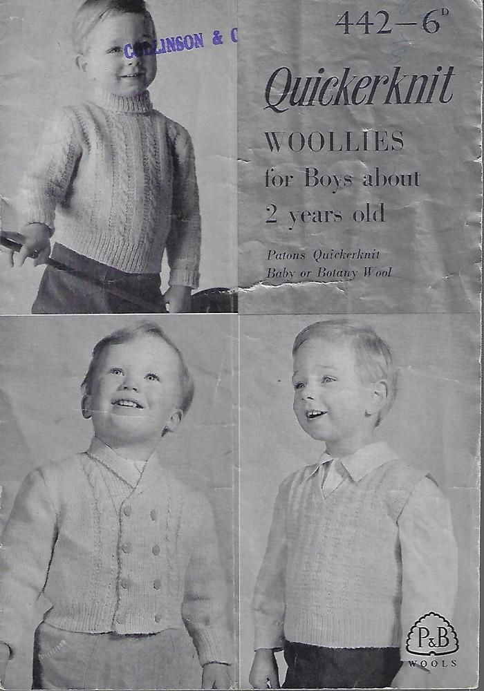Quickerknit Woollies For Boys About 2 Years Old Patons Vintage