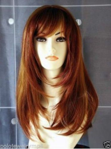 FIXSF399 vogue  beautiful long brown Orange mix Hair fashion wigs for Women Wig #Unbranded