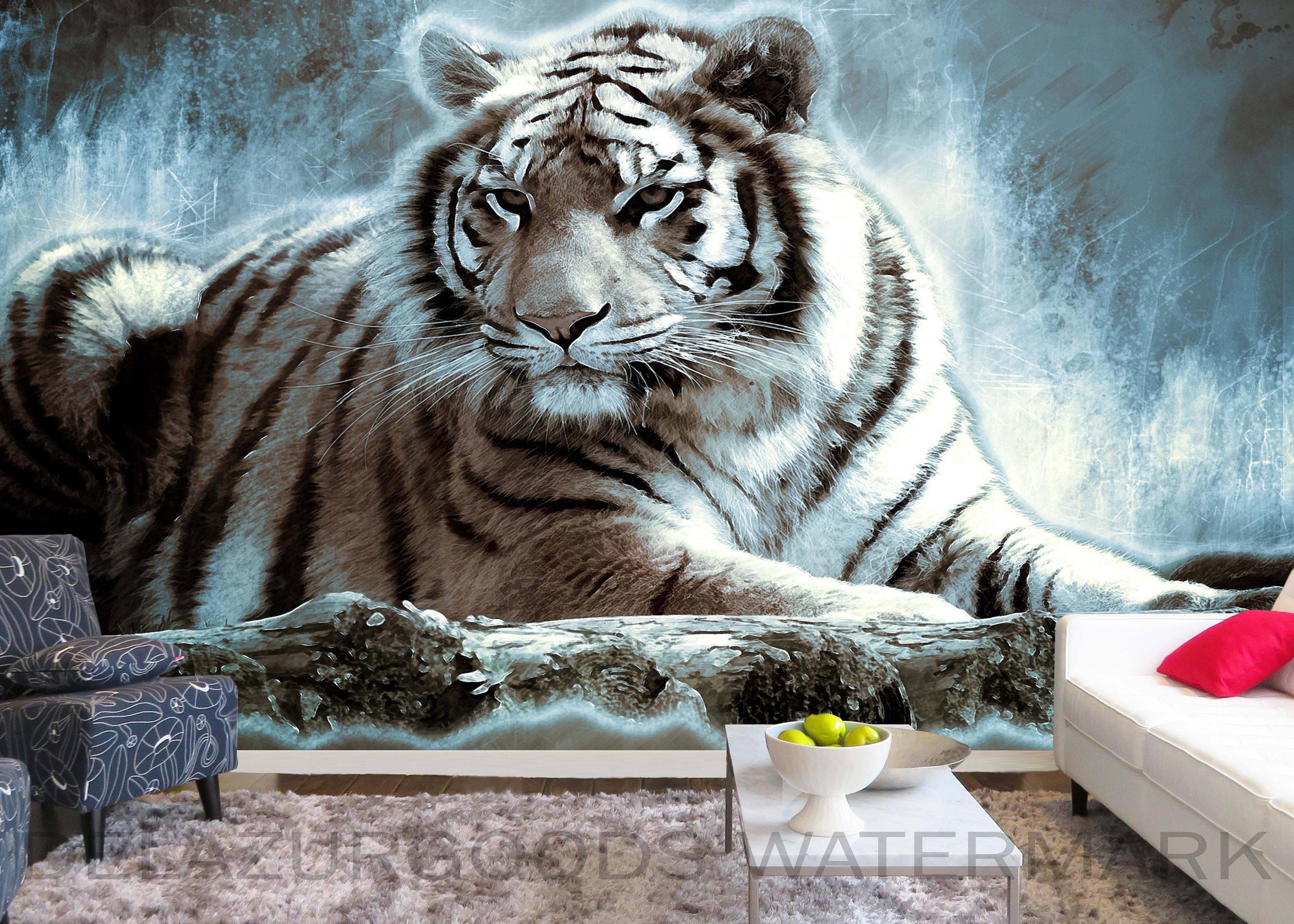 White Tiger Wallpaper Peel and Stick Removable Wall