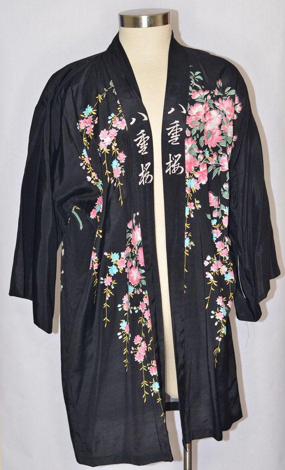 Vintage Estate Black Cherry Blossom Scenery Kimono by KuratedbyKE #cherryblossom #silkkimono #kimono