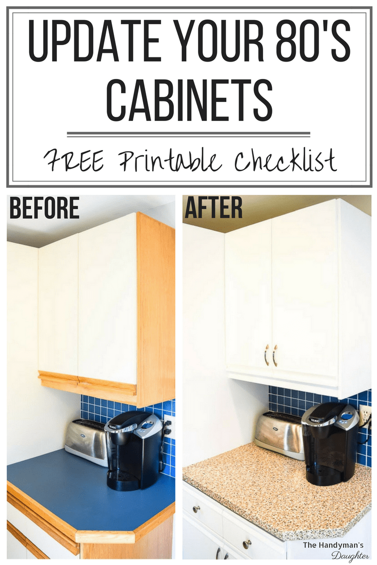 Tips For Updating Melamine Cabinets With Oak Trim Melamine Cabinets Laminate Cabinets Painting Kitchen Cabinets White