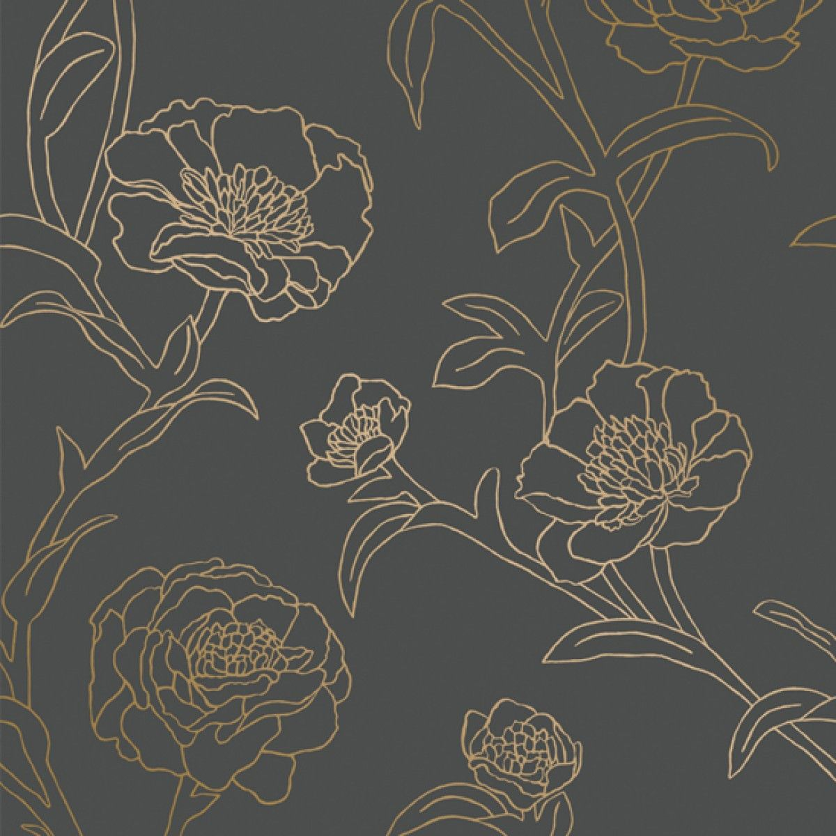 Peonies Self Adhesive Wallpaper In Noir Design By Tempaper In 2021 Blue And Gold Wallpaper Peony Wallpaper Removable Wallpaper