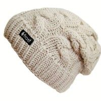Amazon.com: Frost Hats Winter Hat for Women BEIGE Slouchy Beanie Cable Hat Knitted Winter Hat Frost Hats One Size Beige: Clothing